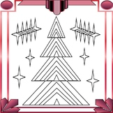 Free Art Deco Christmas Trees Coloring Page