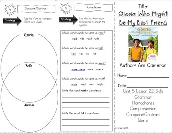 """""""Gloria Who Might Be My Best Friend"""" Skills Trifold Journeys Lesson 22"""