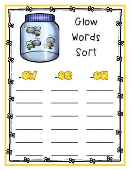 """Glow Words"" (-ow, -oa, -oe) Phonics Packet"
