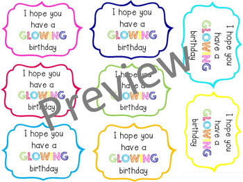 'Glowing' Birthday Bracelet Tags/Labels