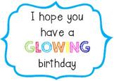'Glowing' Birthday Bracelet Tags/Labels