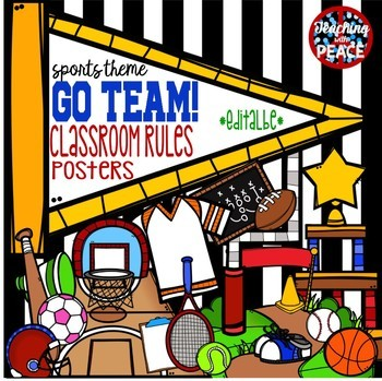 """Go Team!"" Sports Themed Classroom Rules Posters *editable*"