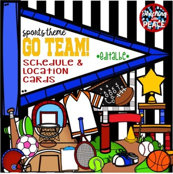 """""""Go Team!"""" Sports Themed Schedule & Location Cards *editable*"""