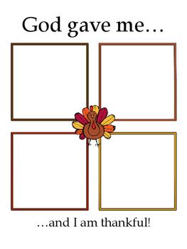 """God gave me.."" Thanksgiving Thankfulness Worksheet"