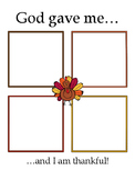 """God gave me.."" Thanksgiving Thankfulness Worksheet"