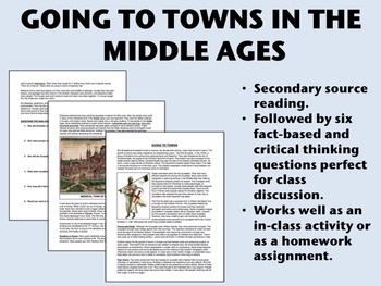 """""""Going to Towns in the Middle Ages"""" - reading/questions - Global/World History"""