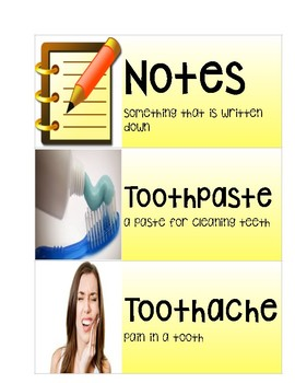 """""""Going to the Dentist"""" Vocabulary Cards"""