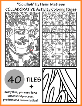 goldfish by matisse collaborative activity coloring pages - Activity Coloring Pages