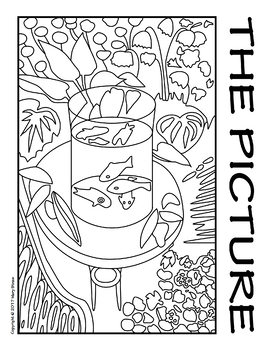 Goldfish by Matisse COLLABORATIVE Activity Coloring Pages by Mary Straw