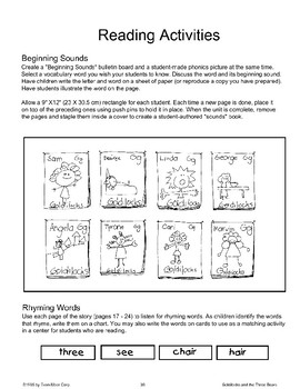 """Goldilocks and the Three Bears"": Reading Activities"