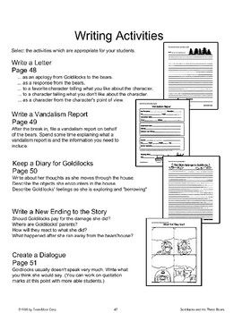 """Goldilocks and the Three Bears"": Writing Activities"