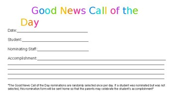 """""""Good News Call of the Day"""" Nomination Form"""