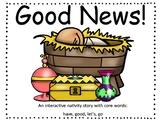 """Good News"" nativity interactive core word book"