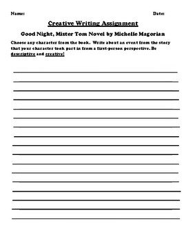 """""""Good Night, Mister Tom"""" by Michelle Magorian Creative Writing"""