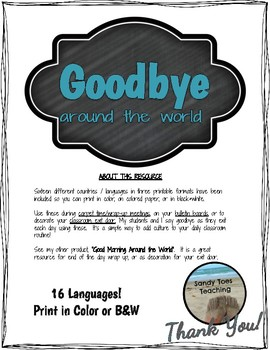 """Goodbye"" Around the World - Teal Chalkboard"