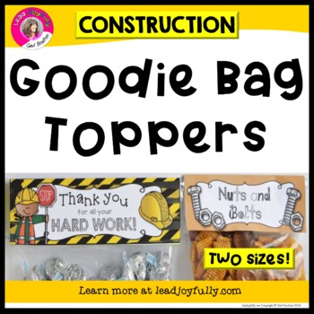 """Goodie Bag"" Toppers (Construction Theme)"