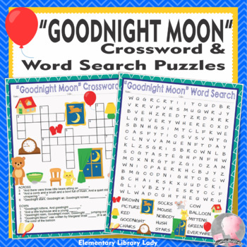 Goodnight Moon Activities Margaret Wise Brown Crossword Puzzle & Word Searches