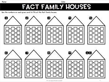 {Grade 1} Fact Families with Sums to 20