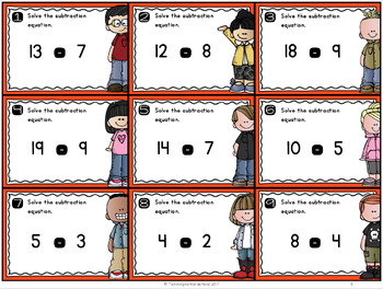 {Grade 1} Subtraction within 20 Mathtivity Cards