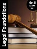 {Grade 11, CLU 3M} Unit 1: Legal Foundations