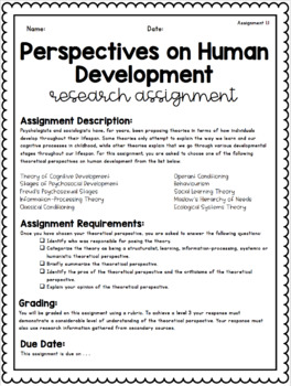 {Grade 12, HHG4M} Unit 1: Developmental Theories, and Risk and Resilience