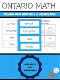 {Grade 3} Data Management Ontario Math Word Wall Vocabulary