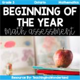 (Grade 3) Ontario Beginning of the Year Math Assessment Test