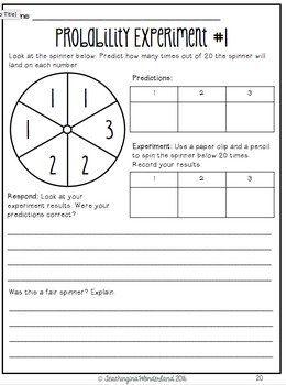 {Grade 4} Probability Activity Packet