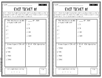 {Grade 5} 5.NBT.2 Powers of 10 Exit Tickets