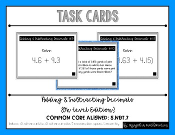 {Grade 5} Adding & Subtracting Decimals Task Cards - Color and B&W!