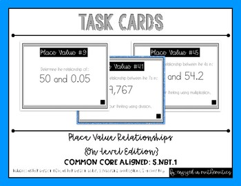 {Grade 5} Decimal Place Value *On-Level* Task Cards - Color and B&W!