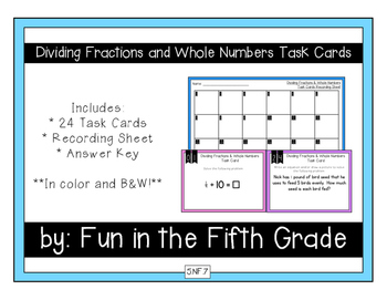 {Grade 5} Dividing Fractions and Whole Numbers Task Cards - Color and B&W!