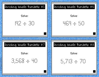 {Grade 5} Dividing Whole Numbers Task Cards - Color and B&W!