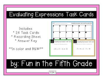 {Grade 5} Evaluating Expressions Task Cards - Color and B&W!