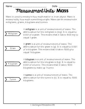 {Grade 5} Mass, Volume & Capacity Activity Packet