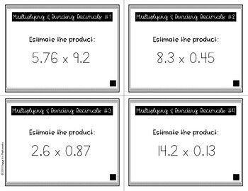 {Grade 5} Multiplying & Dividing Decimals Task Cards - Color and B&W!