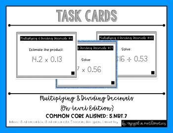 {Grade 5} Multiplying & Dividing Decimals Task Cards - Col
