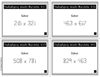 {Grade 5} Multiplying Whole Numbers Task Cards - Color and B&W!