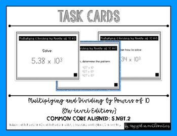 {Grade 5} Multiplying and Dividing by Powers of 10 Task Cards - Color and B&W!