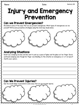 {Grade 5} Personal Safety and Injury Prevention Activity Packet