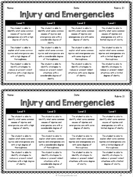 {Grade 5, Unit 2} Personal Safety and Injury Prevention Activity Packet