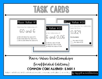 {Grade 5} Place Value Relationships *Scaffolded* Task Cards -- Color and B&W!