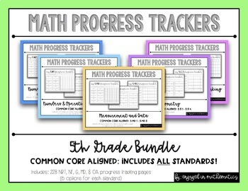 {Grade 5} Progress Tracking Sheets {ALL STANDARDS BUNDLE}