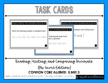 {Grade 5} Reading, Writing, & Comparing Decimals Task Cards - Color and B&W!