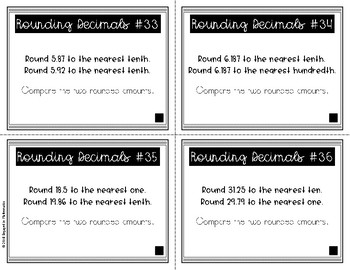 {Grade 5} Rounding Decimals Task Cards - Color and B&W!