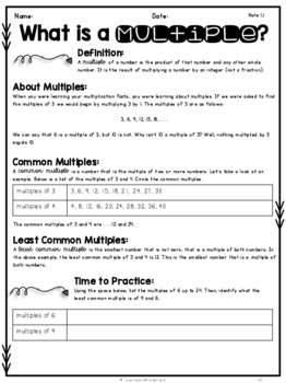 {Grade 7} Unit 1: Factors, Multiples and Order of Operations Activity Packet