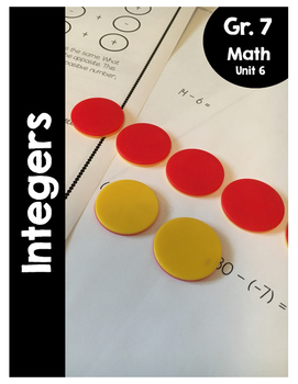 {Grade 7} Unit 6: Integers Activity Packet