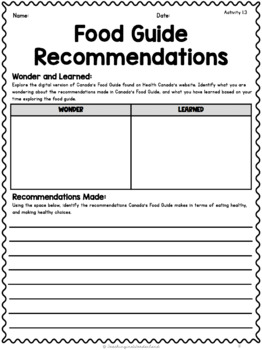 {Grade 8} Unit 1: Healthy Eating Activity Packet