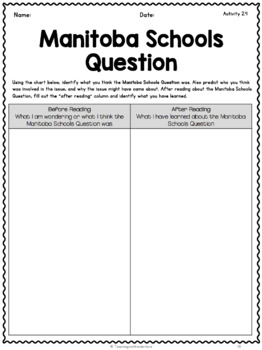 {Grade 8} Unit 2: Canada, 1890 - 1914: A Changing Society Activity Packet