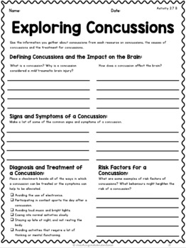 {Grade 8} Unit 3: Personal Safety and Injury Prevention Activity Packet